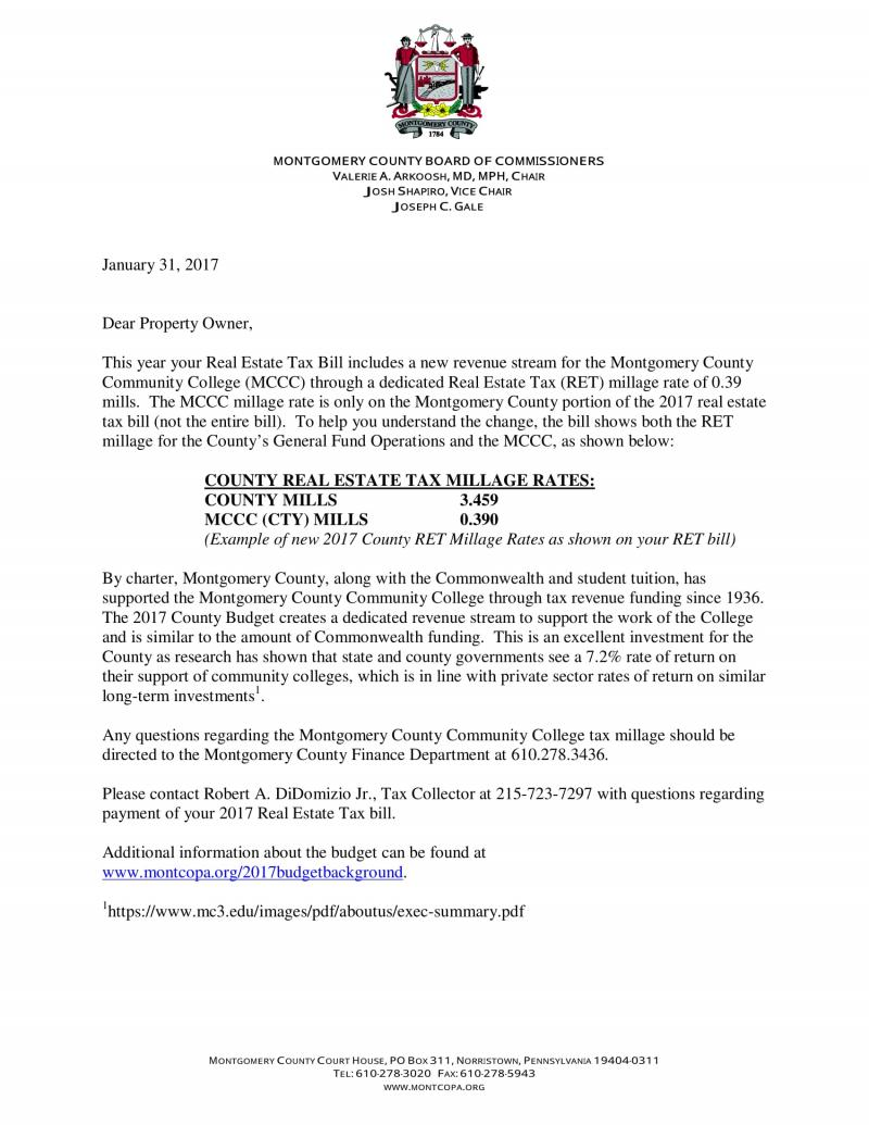 Montgomery County Letter on New MCCC Tax